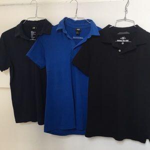 Bundle of 3 H & M Polos Size S Black, Blue, Navy